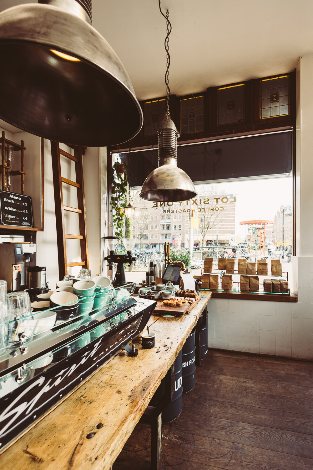 Interior at Lot Sixty One Coffee Roasters in Amsterdam