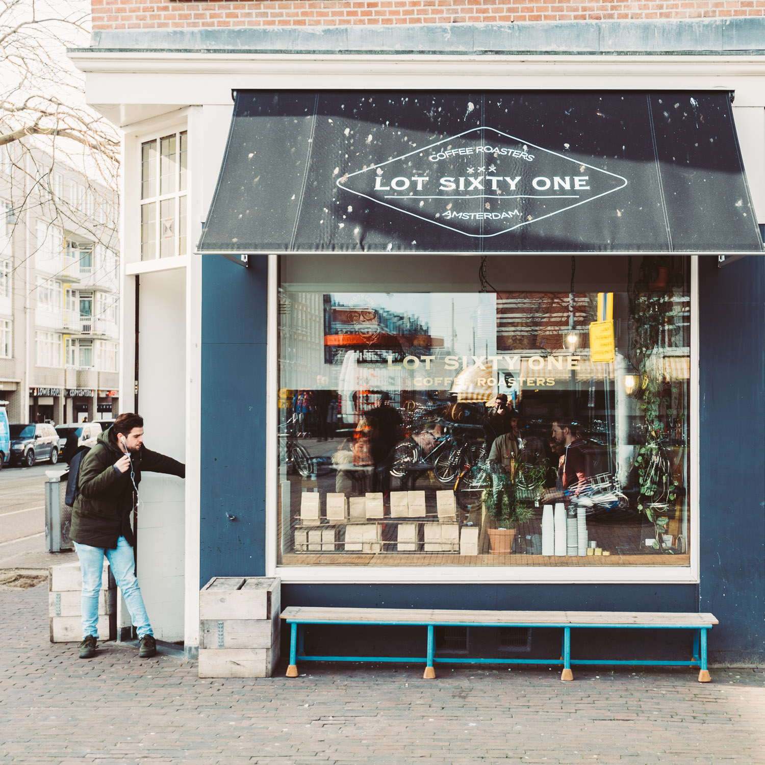Outside the café at Lot Sixty One Coffee Roasters in Amsterdam